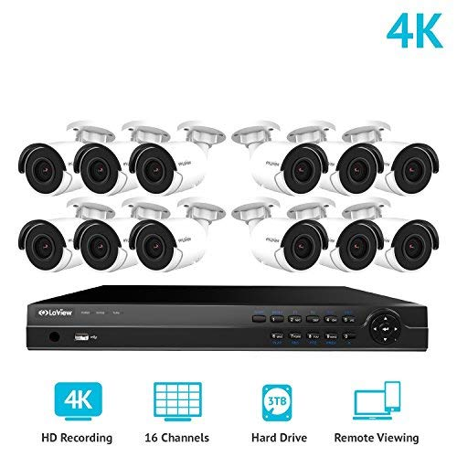 LaView 16 Channel Ultra HD 4K Home Security Camera System with 12 x 8MP IP Bullet Cameras, 100ft Night Vision, Weatherproof Expandable Surveillance Camera System NVR 3TB HDD