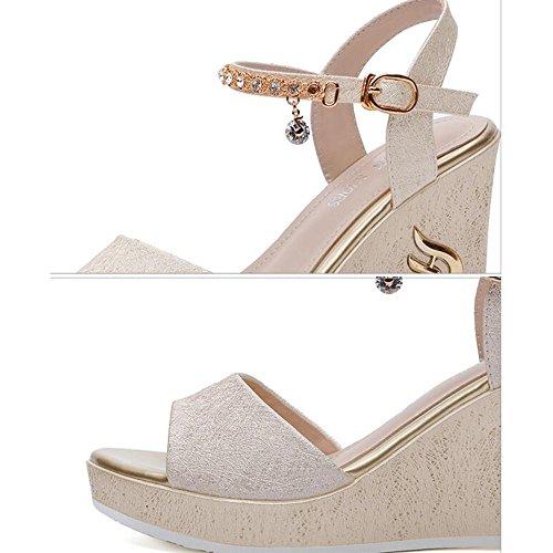 Blanco Tamaño De 5 Open Fei Pu Chanclas Eu38 cn38 Negro uk5 Para Heel Sandalias Joint Wedge Oro Zapatos Verano Oro Split Toe color Mujer Primavera Vestido Antidérapant qwE1aw