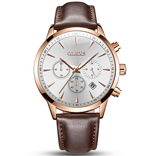 (OLEVS Brown Leather Watch Men White Face,Mens Big Face Watches Clearance,Men's Chronograph Luminous Watch,Mens Dress Watch for Men with Date Calendar,Mens Rose Gold Watch Leather with Day and Date)