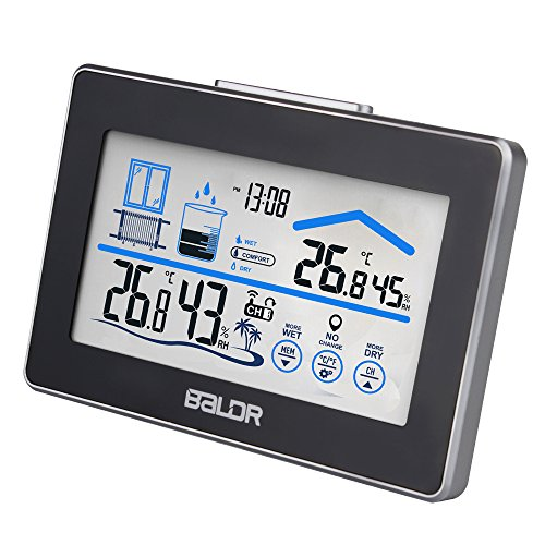 BALDR LCD Touch Screen Weather Station, Displays Temperature and Humidity, Outdoor Sensor Included