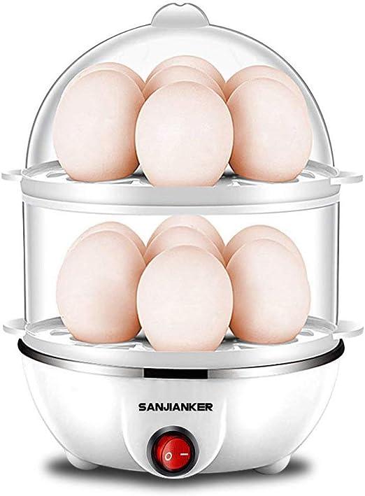 Olla eléctrica para huevos, 350 W, color blanco, para cocinar huevos, con capacidad para 14 huevos, con apagado automático