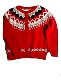 Girls' Long Sleeve Heart Cardigan, 2T, Red