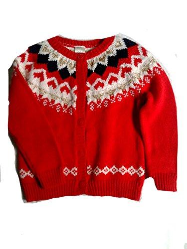 OshKosh B'Gosh Girls' Long Sleeve Heart Cardigan, 2T, Red