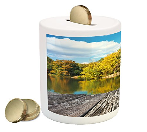 (Lunarable Landscape Piggy Bank, New York City Central Park in a Autumn Day Near a Bay with River, Printed Ceramic Coin Bank Money Box for Cash Saving, Sky Blue Green and Cocoa)
