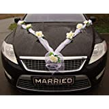 Autoschmuck Guirlande d'orchidées pour voiture Décoration de mariage pour auto Ecru / Weiß