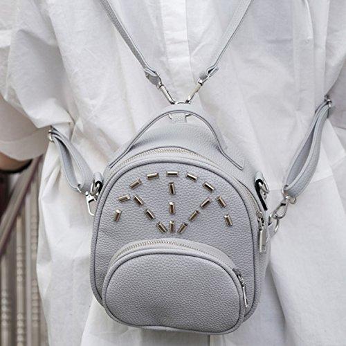 Mujeres Remache De Moda Textura Litchi Mochila Pequeña Elegante Bolso De Cuero Grey
