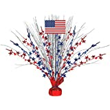 "Large Patriotic Foil Spray Centerpiece 4th of July Party Table Decoration, 1 Pieces, Made from Foil, Patriotic theme, 18"" by Amscan"