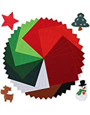 Pllieay 50 Pieces Soft Christmas Felt Fabric Sheets, 4 by 4inch, 1.4mm Thick Multi-Purpose for DIY Art Making and Christmas Decorations, 10 Colors