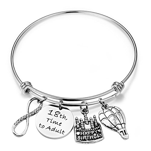 ENSIANTH Birthday Gift for Her Adjustable Birthday Bracelet Bangle with Birthday Cake Charm,12th Sweet 16th 18th 21st 30th 39th 40th Bangle Gift, (18th Birthday) (Gift Ideas For My 16 Year Old Boyfriend)