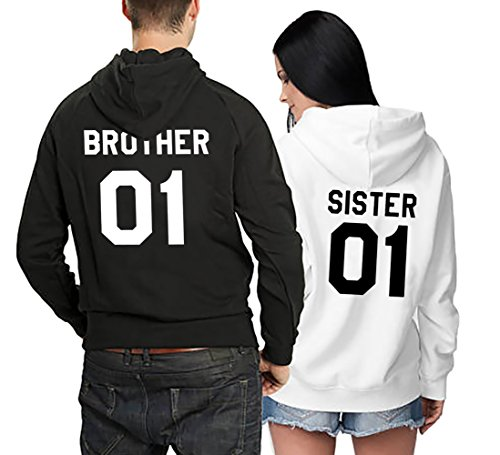 Matching Couple Fleece Hoodie Brother Sister His Her Warm Winter Valentines Lovers Gift Set 2 Pack Hooded Sweatshirt Pullover (Black+White, (Brother Hoodie)