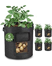 JUSTGROW™ 5 Pack 10 Gallon Large Potato Grow Bags with Viewing Window and Free Claw Garden Gloves. Premium Reinforced Breathable Fabric Potato Grow Bag. Garden Plant Bags with Handles