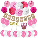Zerodeco First Birthday Decoration Set for Girl 1st Baby Girl Birthday Party Hat Gold Crown, ONE Cake Topper, I AM ONE Banner, Hanging Paper Pom Poms and Honeycomb Balls Birthday Party Supplies
