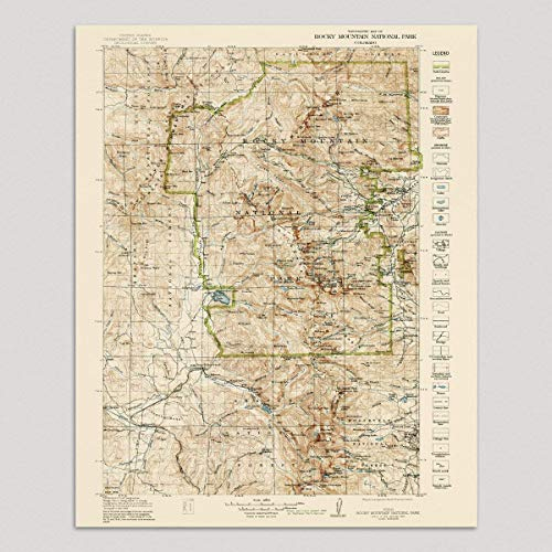 Old Rocky Mountain National Park Map Art Print, Colorado, 1919, Vintage USGS Topographic Map, Archival Reproduction, Unframed