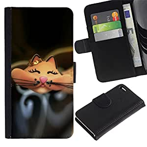 For Apple iPhone 4 / iPhone 4S,S-type® Cartoon Cute Happy Black - Dibujo PU billetera de cuero Funda Case Caso de la piel de la bolsa protectora