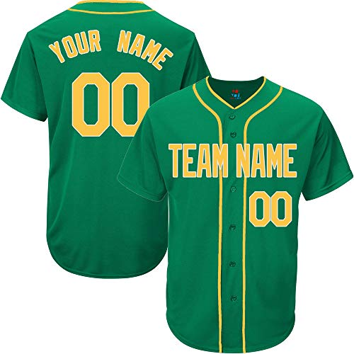 - Kelly Green Custom Baseball Jersey for Men Authentic Embroidered Player Name & Numbers,Yellow-White Size 2XL
