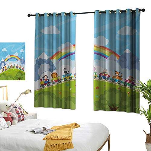 """Luckyee Decor Curtains by,Nursery,63"""" x 72"""",Cartoon Railway Train with Various Animals and a Rainbow Mountains Clouds Trees,Suitable for Bedroom Living Room Study, etc."""