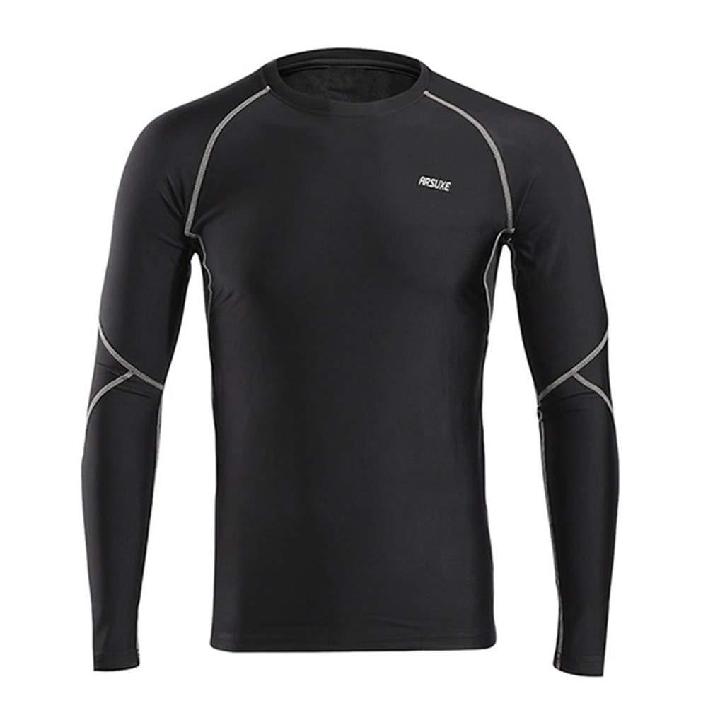 ZXCV Mann-Winter-Compression-Shirt Warm Up Fleece Gym Shirts Langarm Sport Tights Trainings-Hemd Dry Fit