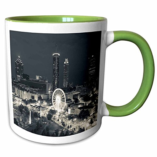 3dRose Danita Delimont - Georgia - Georgia, Atlanta, Centennial Olympic Park, dusk - 11oz Two-Tone Green Mug (mug_230621_7) (Park Lights Christmas Centennial)