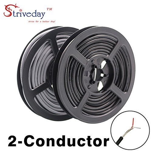 (StrivedayTM 2547 24 AWG 10 Meter Black 2-core Control Cable Copper Wire Shielded Audio Cable Headphone Cable Signal Line)