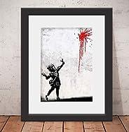 Quadro Decorativo Poster Banksy Valentine´s & Vidro Anti-Reflexo & Paspatur