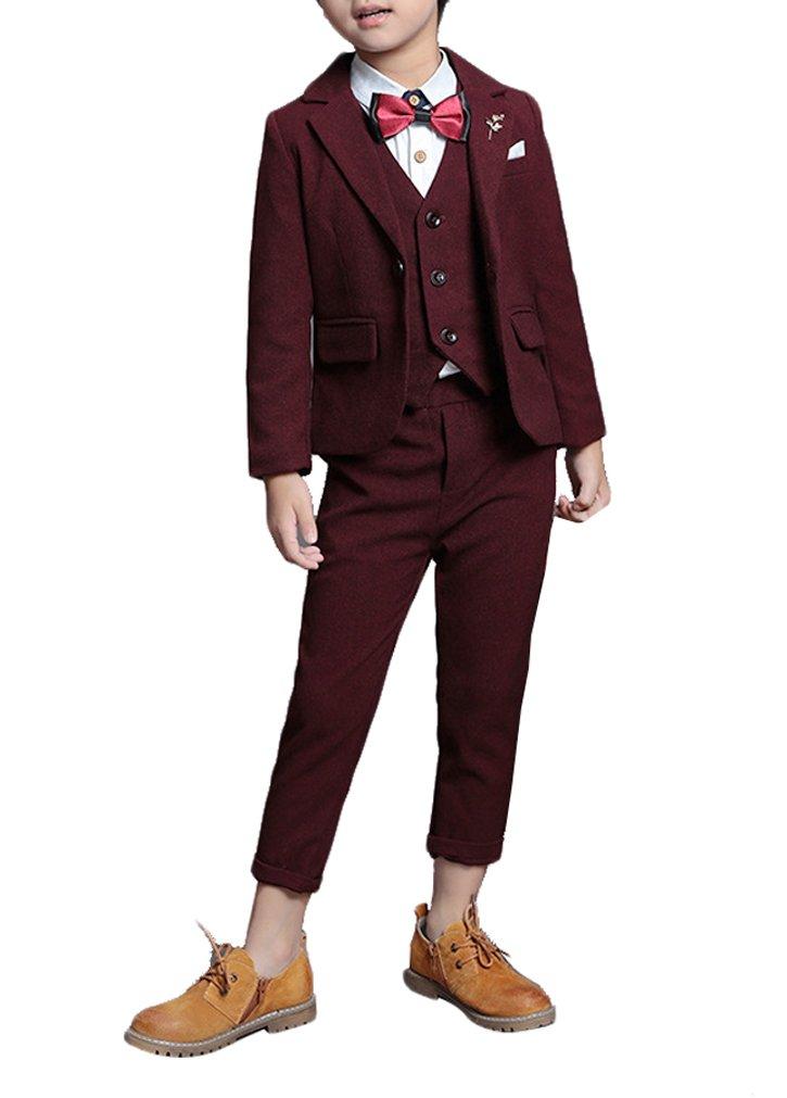 YUFAN Boys Burgundy Navy Black 3 Colors Suits Set Jacket Vest Pants 3-Pcs Quality Fabric (Burgundy, 4T)