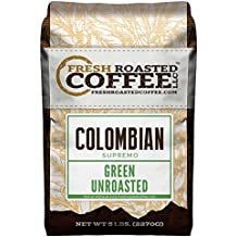 Green Unroasted Coffee Beans, 5 LB. Bag, Fresh Roasted Coffee LLC. (Colombian Supremo)