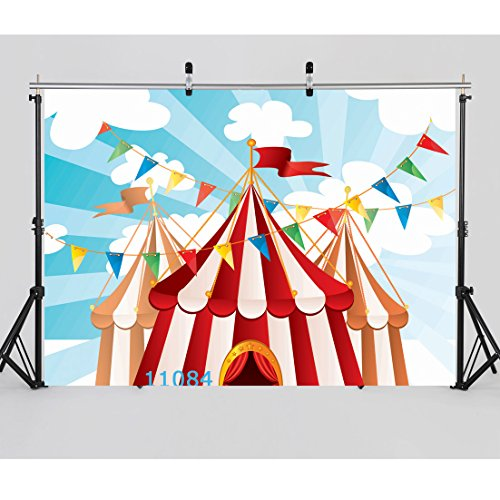 WOLADA 7x5ft Circus Carnival Party Vinyl Photography Backdrop for Baby Kids Birthday Decoration Customized Photo Background Photo Studio Prop 11084