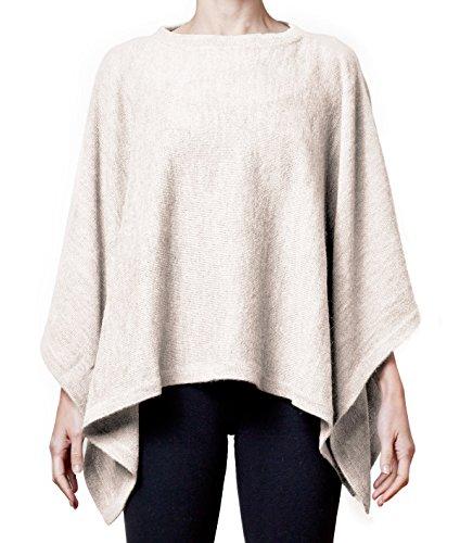 Women's Super Soft Alpaca Wool Long Poncho Sweater (Natural)