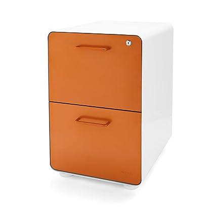 Amazoncom Poppin White Orange Stow 2 Drawer File Cabinet Metal