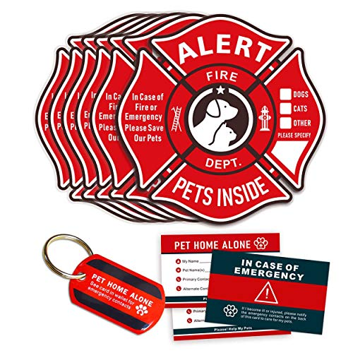 Pet Alert Stickers Static Cling Window Decals Emergency Pets Rescue Sign (6 Pack) with Bonus: Pet Home Alone Wallet Card & Key Tag - NO Adhesive, Removable, UV Resistant
