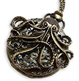 Steampunk Large Octopus Pocket Watch Necklace - Octopus Sea Monster Pocketwatch Pendant (Brass)