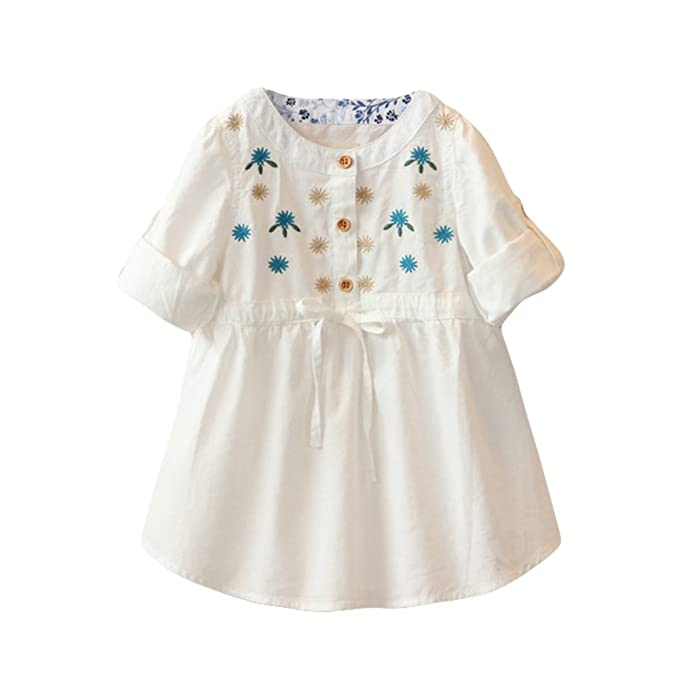 050d9ecd1dbf Amazon.com: Baby Toddler Girl Dress Top Embroidery Flower Cotton ...