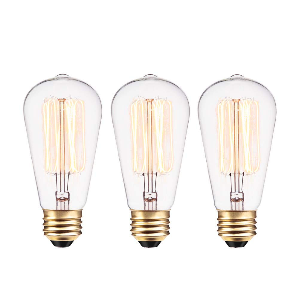059acc5c1e6 Globe Electric 40W Vintage Edison S60 Squirrel Cage Incandescent Filament Light  Bulb 3-Pack