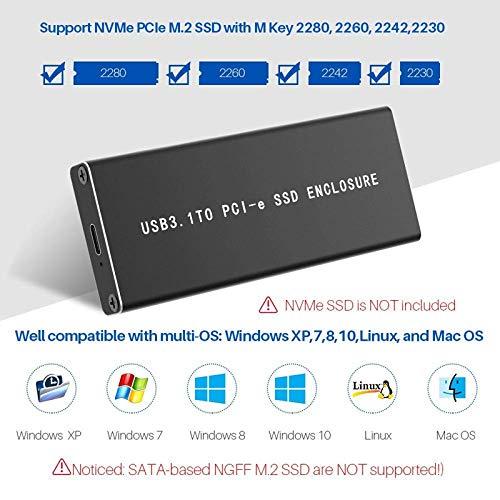 SODIAL Pcie Nvme Usb3.1 HDD Enclosure M.2 A USB 3.1 Tipo C M Key Ssd Enclosure Unidad De Disco Duro Caja De HDD Externa//Pcie Ssd Case