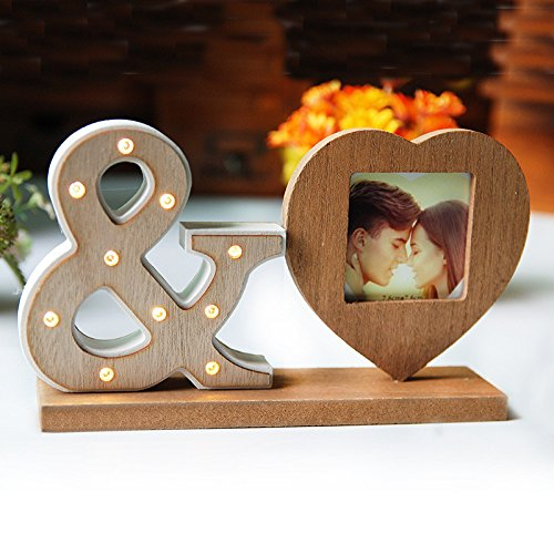 Wood Heart Sharp Picture Frame The Household Decor With Led Night Light Photoes Frame Love Wedding Decor Picture Frame Gifts Kangsanli