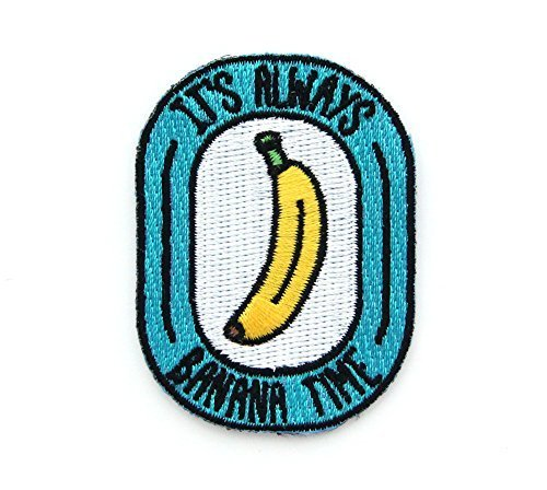 Baseball Embroidery Designs - Banana Time Embroidered Sew or Iron-on Backing Patch
