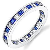Sterling Silver 925 Eternity Ring Engagement Wedding Band W/Princess Cut Simulated Sapphire Cubic Zirconia CZ 8