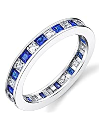 Metal Masters Co.® Sterling Silver 925 Eternity Ring Engagement Wedding Band W/ Princess Cut Simulated Sapphire CZ