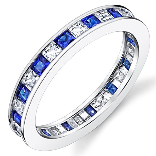 Sterling Silver 925 Eternity Ring Engagement Wedding Band W/Princess Cut Simulated Sapphire Cubic Zirconia CZ ()