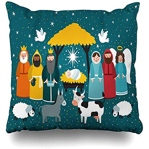Throw Pillow Covers Birth Baby Christmas Scene Nativity Holidays Jesus Mary Manger Bible School Story Design Home Decor Pillow Case Square Size 18 x 18 Inches Zippered Pillowcase