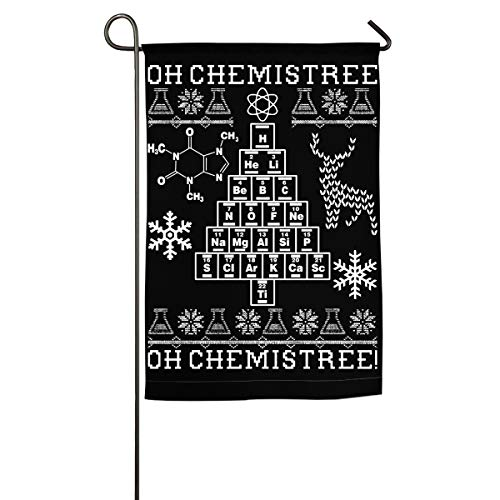 Beautiful Garden Flag for Outdoors, Oh Chemistree, Oh Chemistree! Ugly Christmas Chemistry Yard Flags | Durable, Polyester]()