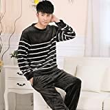 LJ&L Striped couple breathable home service suit thickening fashion flannel comfort pajamas loose bathrobes,Men,XXL