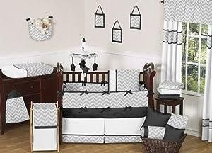 Modern Gray and Black Zig Zag Grey Baby Boy Girl Unisex 9pc Bedding Crib Set by Sweet Jojo Designs