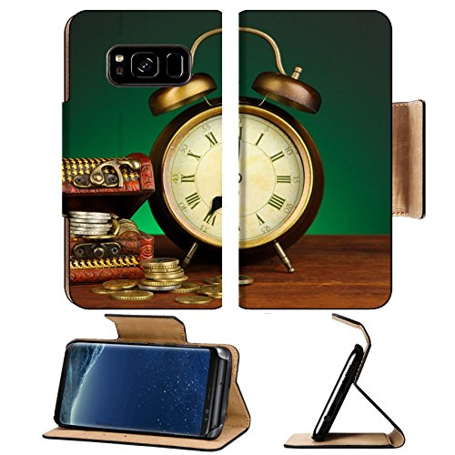 Luxlady Premium Samsung Galaxy S8 Plus S8+ Flip Pu Leather Wallet Case IMAGE ID: 22018414 Antique clock and coins on wooden table on dark color background