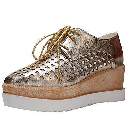 Scarpe Da Donna Piercing Traforato Su Zeppe Di Cunei Scarpe Oxfords Oro