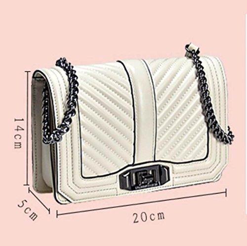 Gshga Bag Bags Cross New body Chain Grid Shoulder Cowhide Ladies Black1 V Handbags Genuine black2 Leather Totes rwrxpFA4q