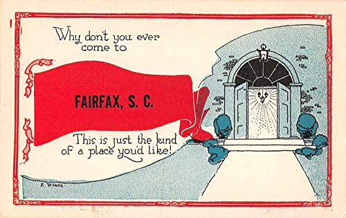 Fairfax South Carolina Greetings Pennant Flag Doorway Postcard JE359337