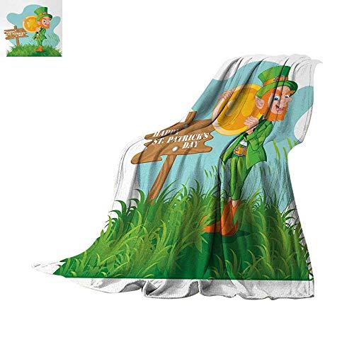 Anhuthree St. Patricks Day Super Soft Lightweight Blanket Festive Leprechaun with Costume Holding Large Shamrock Gold Coin on Hill Summer Quilt Comforter 62