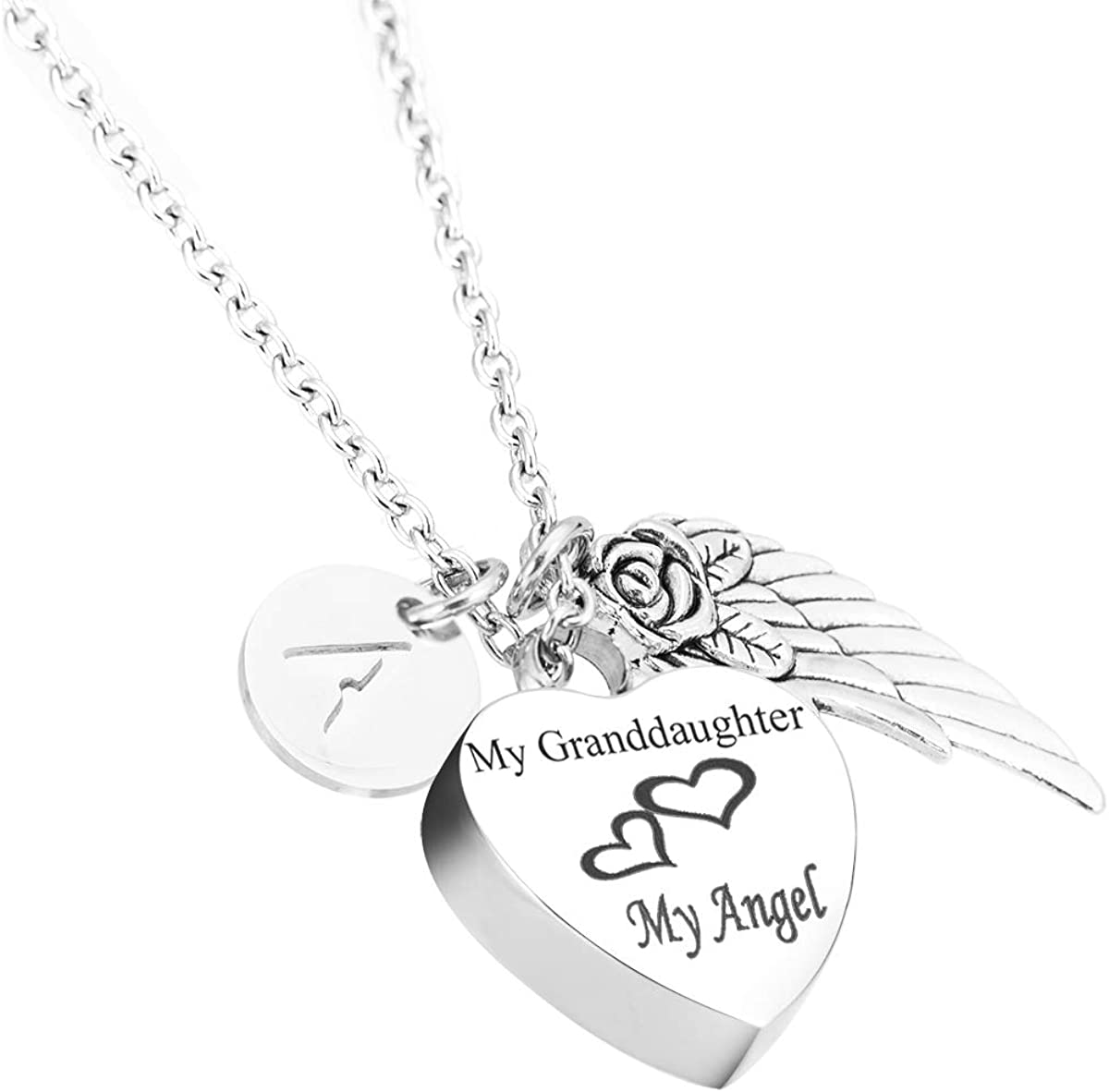Glimkis Cremation Urn Jewelry My Granddaughter My Angel 26 Alphabet Charms Memorial Ash Keepsake Heart Necklace