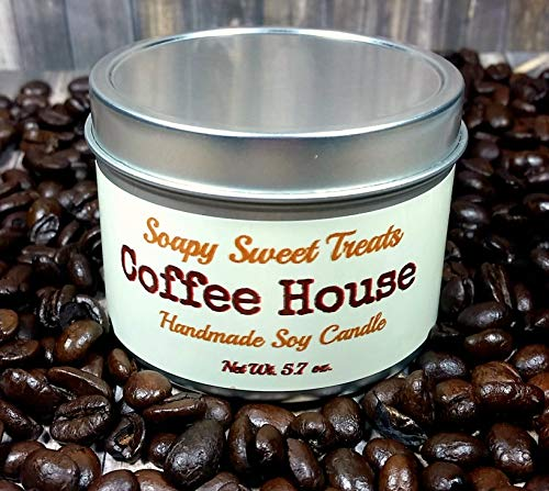 Coffee House Scented Soy Candle in a Tin with Wood Wick 5.7 Ounces by Soapy Sweet Treats